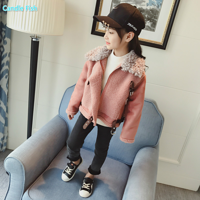 Girl 2018 winter fall outfit suede blouse girl Lapel leather buckle decorative jacket tide coat