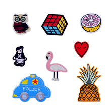 New Cute Kids Rubik's Cube/Owl/Flamingo/Heart Patches Iron On Or Sew Fabric Sticker For Clothes Badge Embroidered Appliques DIY