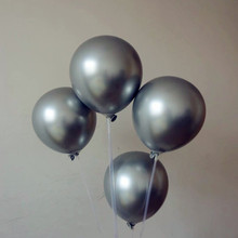 Metal balloon 15pcs 12 inch thick silver latex balloons happy new year decoration helium ballon birthday party supplies