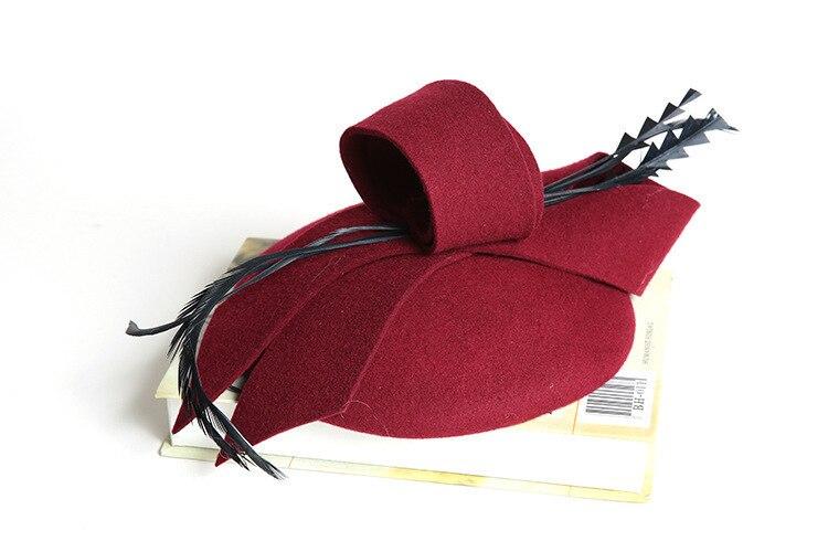 Women Wedding Hats Hair Accessories Fascinator Hat Autumn Winter Hollow Veil Wool Felt Women Fedoras Cocktail Formal Dress Hats 1