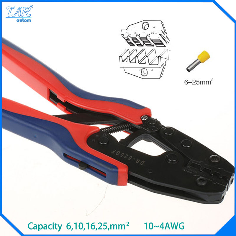 6,10,16,25mm Super Strength-Saving Crimping Pliers Ratchet Crimping Tool Insulated and Non-insulated cable end-sleeves DR-625GF 1pcs vh1 06wf mini crimping pliers insulated and non insulated ferrules capacity 0 25 6 0mm2 free shipping