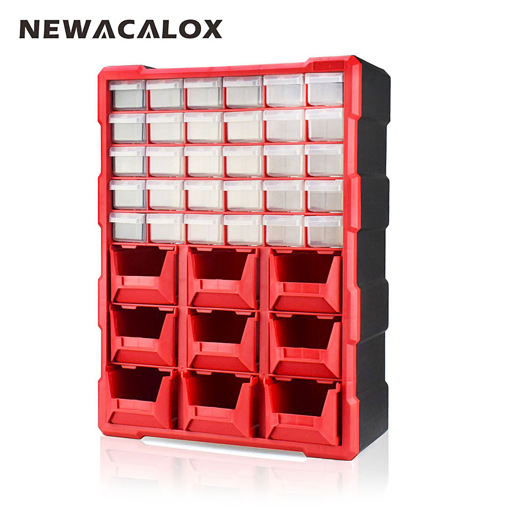 NEWACALOX 39 Drawer Big Organizer Hardware and Craft Cabinet household Tool Box Plastic Small Parts Storage Multi Casket Case children clothing mother and daughter dress red printing 2 10 years old child little baby girls clothes women large size 4xl