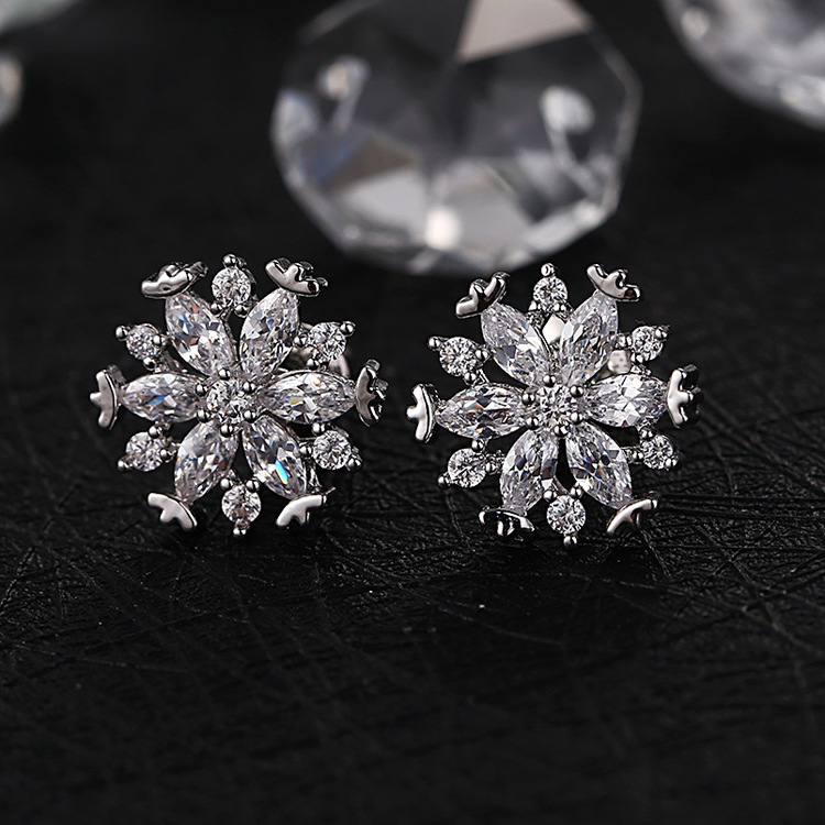 Cute Rose Gold Crystal Snowflake Earrings Studs Cubic Zirconia Stud For Women Fashion Jewelry Christmas Gifts Ersj11 In From