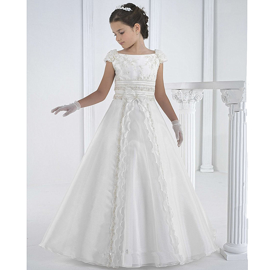 White and ankle length flower girl dresses lace first communion dresses for girls A line style