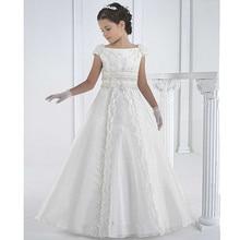 Белые Платья с цветочным узором длиной до щиколотки для девочек; кружевные платья для первого причастия для девочек; трапециевидный стиль; vestidos de comunion