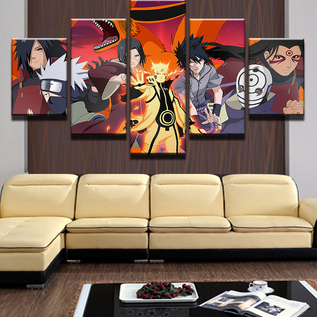 5 Pcs Modular Picture Naruto Animated Characters Posters Print Wall Art