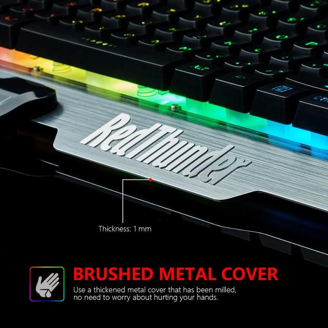 RedThunder K900 RGB Gaming Keyboard Mechanical Similar Russian Spanish French Multilingual Metal Cover for Tablet Desktop 4