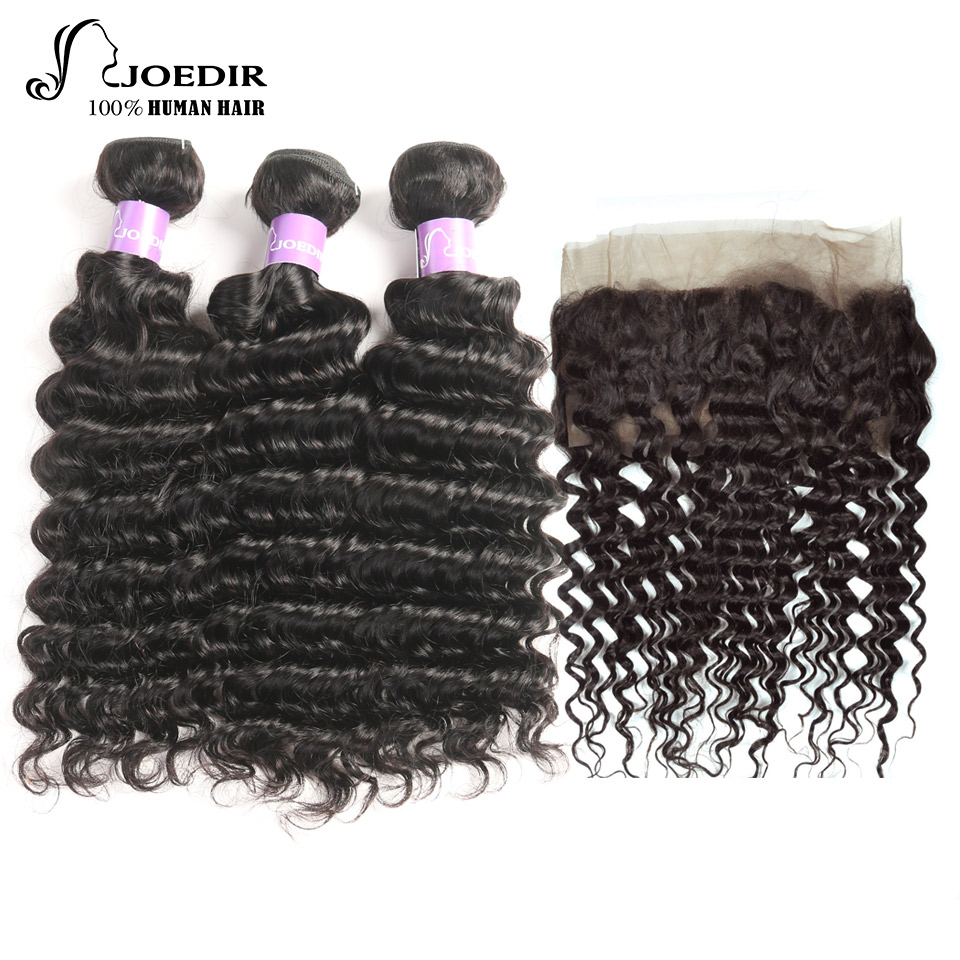 Joedir Brazilian Deep Wave Non-Remy Human Hair Bundles With 360 Closure Deep Wave 360 Lace Frontal With Bundle Hair Extensions