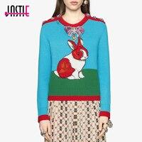 Jastie Kaninchen Intarsien Wolle Stricken Top Dicke Herbst Winter Pullover Kristallknöpfe Schulter Chic Frauen Pullover Pullover Jumper