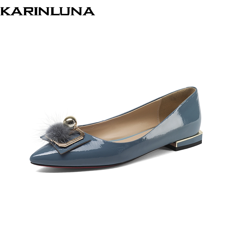 KARINLUNA Brand New Genuine Leather slip-on Metal Decoration Solid Shallow Shoes Woman Casual Spring Flats Big Size 33-43 lapolaka 2018 spring autumn sweet shallow women ballet flats bow beading slip on shoes woman big size 33 43 casual footwear