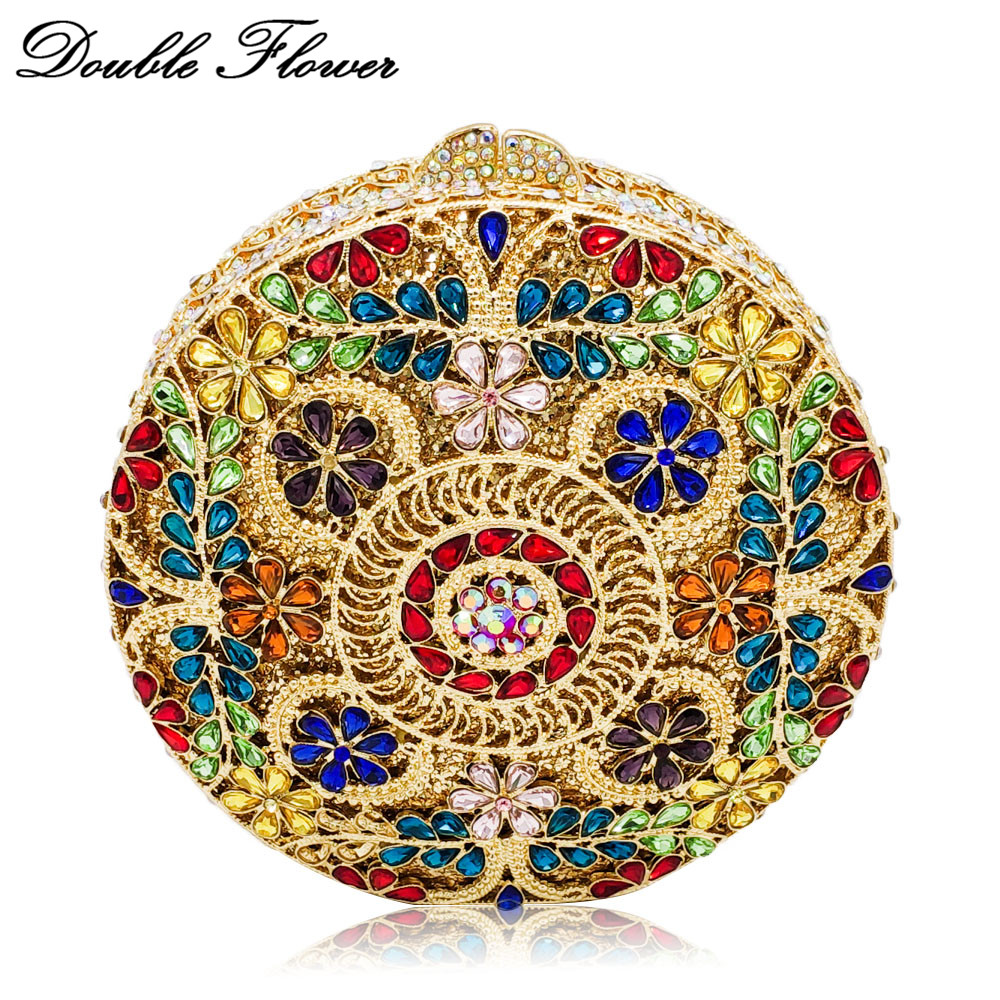 Double Flower Hollow Out Round Circular Multicolored Crystal Women Evening Minaudiere Bags Wedding Party Diamond Clutch Handbag hollow out round faux crystal metal necklace