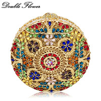 Double Flower Hollow Out Round Circular Multicolored Crystal Women Evening Minaudiere Bags Wedding Party Diamond Clutch Handbag