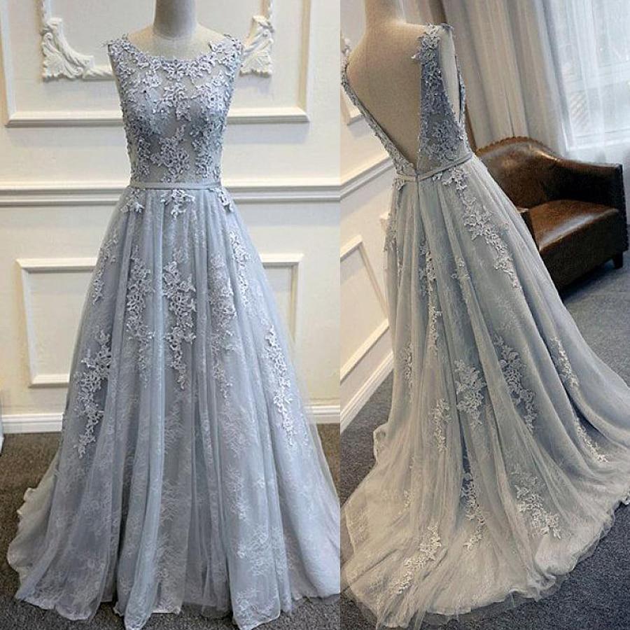 Glamorous Tulle Bateau Neckline A-Line Wedding Dresses With Lace Applqiues Blue Lace Bridal Dress Robe