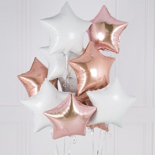 6pcs Baby Shower Globos 18 inch white rose gold star helium foil Balloons girl boy Birthday 1st Party Supplies Decor Pure color