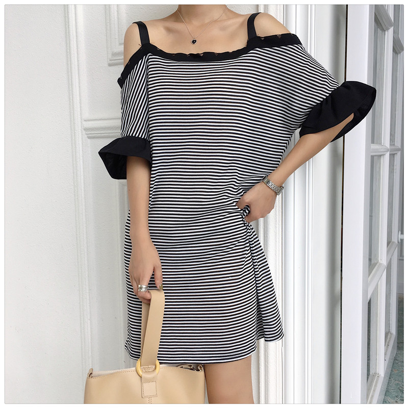 Will ~ firm offers han edition loose strap a word shoulder dress dress in black and white stripes joker woman # 1317