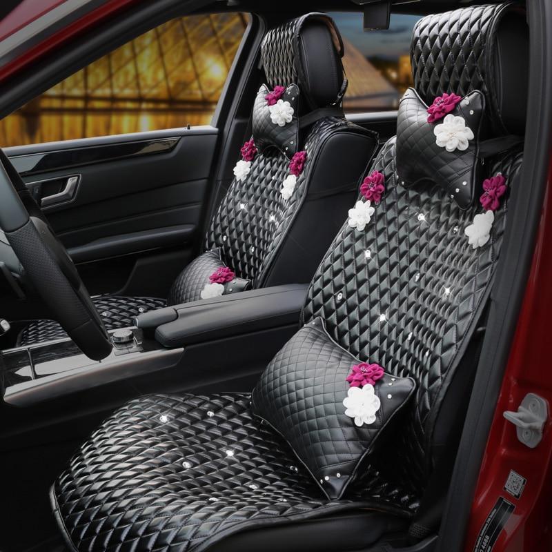 יוקרה קריסטל עור רכב מושבים מושבים - רכב אביזרים פנימיים