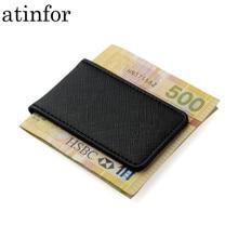 มิตรภาพของขวัญของแท้หนังเงินคลิปกระเป๋าสตางค์ผู้ชายแข็งแรงแม่เหล็กคุณภาพสูงสีดำคลิปเงิน