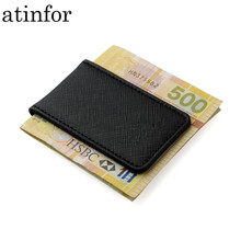 Presente da amizade marca de couro genuíno dinheiro clipe bolsa homens forte magnético alta qualidade preto clipe para titular do dinheiro