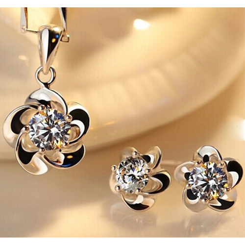 New Fashion Women Jewelry Sets For Wedding With Silver Plated Zircon Pendant Necklace Earrings Set Bridal jewelry