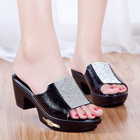Sheepskin Mom S Shoes 2016 Cool Slippers Leather Sandals Diamond Ladies Summer Shoes Women Sequins Side