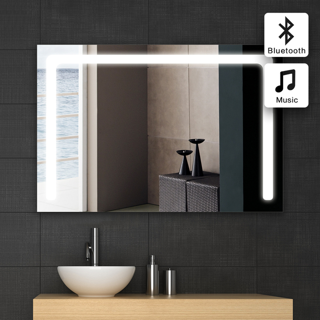 1pc 60x100cm Bath Mirror In Bathroom Bluetooth Illuminated Led Gl Wall Ip44