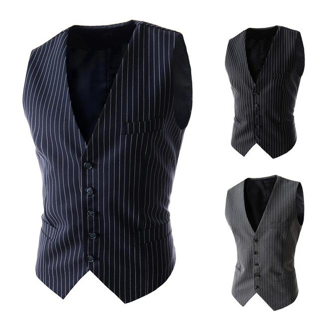 2016 recién llegado de Mens negro gris azul rayó el vestido Formal chalecos para hombre sin mangas ocasional Blazer Jacket Men ' s chaleco de la boda
