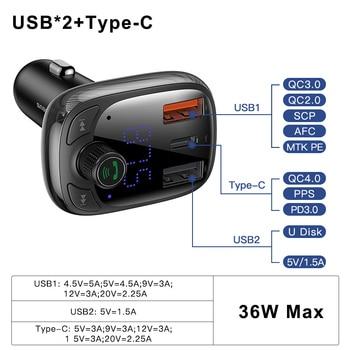 Baseus Quick Charge 4.0 Carregador de isqueiro para telefone Transmissor FM Kit veicular Bluetooth Áudio MP3 Player Rápido Dual USB Car Phone Charger 1