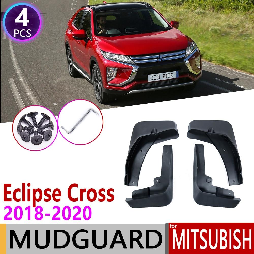 Car Custom Mud Flaps Splash Guards for Mitsubishi Eclipse Cross 2018 2019 Fender Flares Mudflaps Mudguards Front and Rear Wheel 4Pcs White