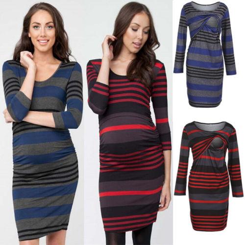 NEW fashion Women Maternity 3/4 Sleeve Dress Breastfeeding Nursing Dress Pregnant Clothes