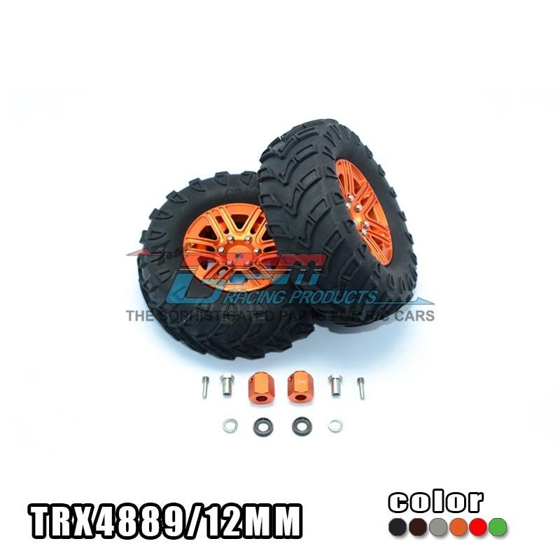 TRAXXAS TRX-4 TRX4 82056-4 1.9 inch alloy wheel hub+guide lines tire 12mm thick hex adapter streetcar edition-set TRX4889/12MM traxxas trx 4 trx4 82056 4 pure copper pendulum wheels knuckle axle rotary type weight 21mm hex adapter set trx4023xx