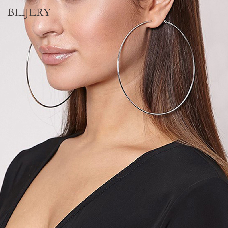 BLIJERY Super Big Round Hoop Earrings Rose Gold Silver Black Color Circle Earrings For Women Party Brincos Punk Jewelry Gift