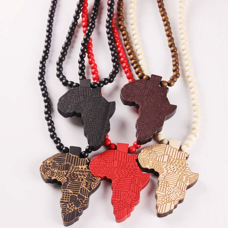 Us 219 Fashion Design Necklaces Man Map Of Africa Good Wood Necklace Jewelry Wooden Africa Map Pendant Necklace Free Shipping Wholesale In Chain
