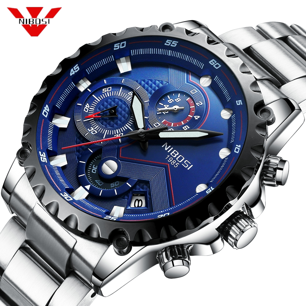 NIBOSI Relogio Masculino Watch Men Top Brand Luxury Sport Wristwatch Chronograph Military Stainless Steel Wacth Male Blue ClockNIBOSI Relogio Masculino Watch Men Top Brand Luxury Sport Wristwatch Chronograph Military Stainless Steel Wacth Male Blue Clock