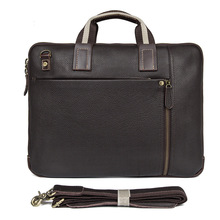 Famous Brand Business Men Briefcase Bag Luxury Cow Leather Vintage Brown 15.6
