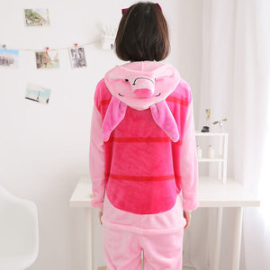 Image 2 - HKSNG Unisex hayvan yetişkin pembe domuz pijama pazen karikatür aile partisi Onesies Cosplay kostümleri pijama Kigurumi
