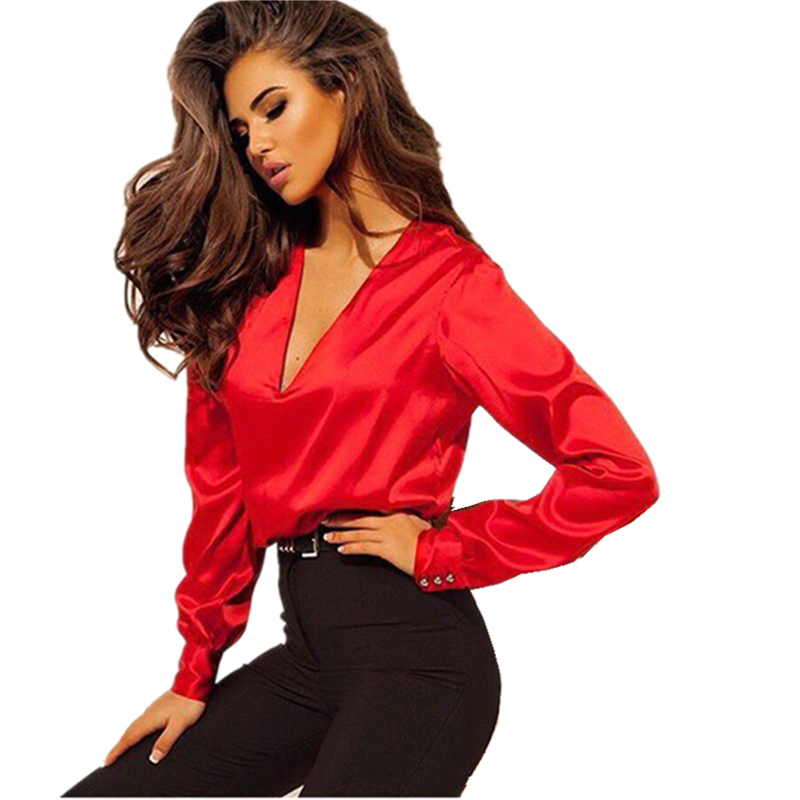 LOSSKY Solid  Autumn Blouse 2019 Casual Deep V-Neck Elegant Office Long-sleeved Loose Lady Shirts Women