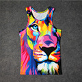 Hot Street Art Rainbow Lion 3D Print Tank Tops Niños Hombres Mujeres Camiseta adolescente Algodón Tee Suelta Prenda Unisex Leon