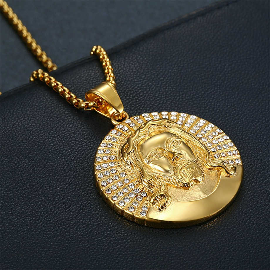 Hip Hop Jewelry Jesus Necklace New Arrival Round Pendant Rhinestone Stainless Steel Necklace Iced Out Chain Mens Gift Aliexpress