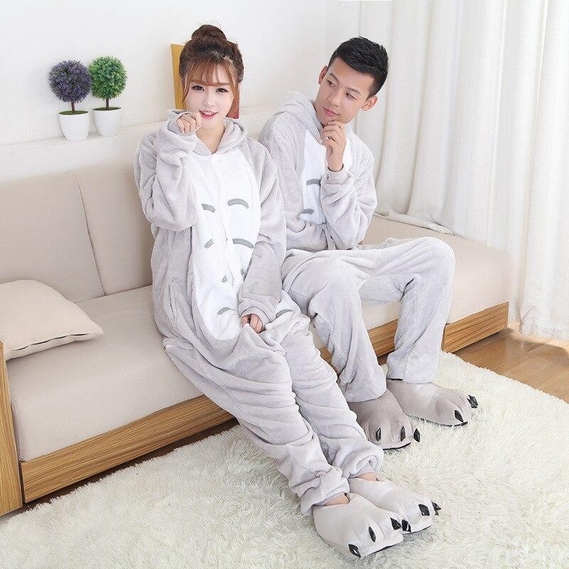 Plus size S-2XL Totoro Onesie Adult Men Women Animal Pajamas Suit Flannel Warm Soft Sleepwear Winter Jumpsuit Pijama Cosplay