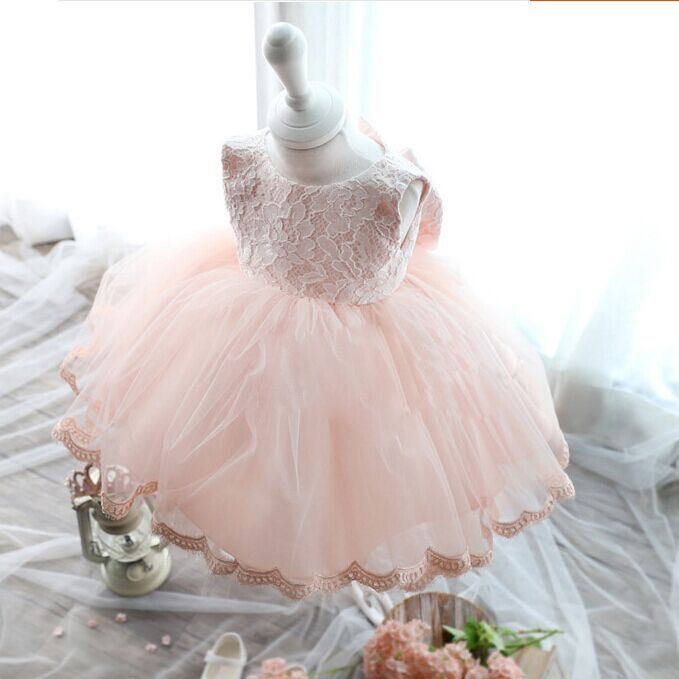 Retail Girl Party Dress Big Bow Lace Sleeveless Baby Princess Dress Children Performance Clothes 3 12M