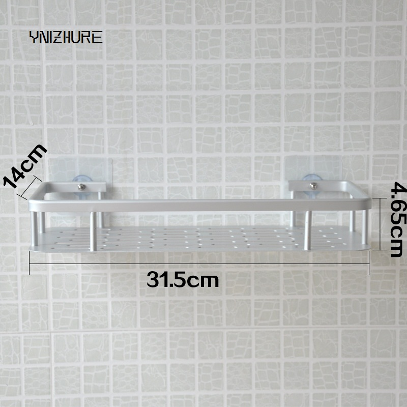 Kitchen Bathroom Bathroom Creative Shelf Sucker Wall Mounted Space Aluminum Storage Shelf Single Layer Nails No Punch Hook