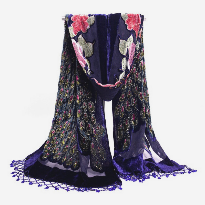 Navy Blue Chinese Women's Velvet Silk Beaded Embroidery Shawl   Scarf     Wrap     Scarves   Peafowl Free Shipping WS006-F