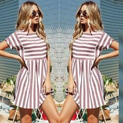 Kobiety lato plaża Sukienka w paski z krótkim rękawem O-Neck druku sukienki różowy styl Mini Vestidos Sexy Sundress kobiet Sukienka 2