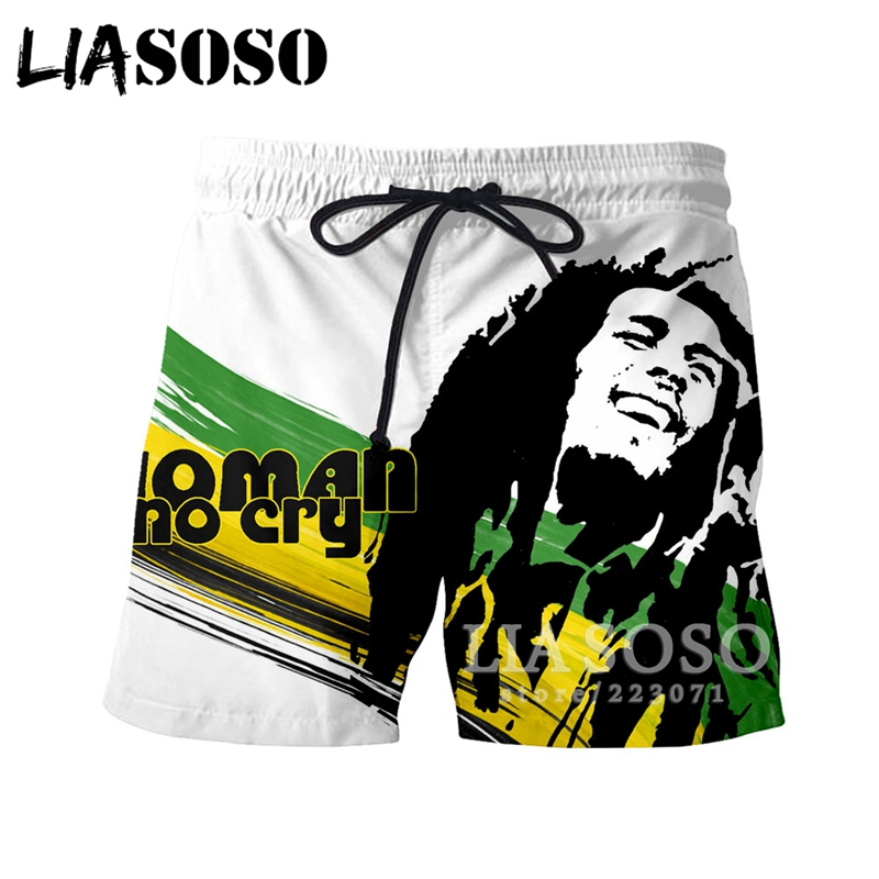 LIASOSO 2019 Summer Men Women Shorts 3D Print Singer Bob Marley Beach Fitness Men Sports Shorts Fashion Brand Clothing B188-08