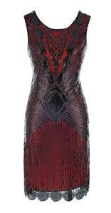 Image 5 - Robe De Cocktail, haut Vintage, haut, rouge noir, avec broderie De paillettes, Sexy, robes De bal, robes De fête, 64450