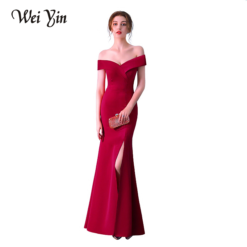 WeiYin Robe De Soiree Hot Sell V-neck Floor Length Women Mermaid Wine Red/Black Long   Evening     Dresses   Formal   Evening   Polyester