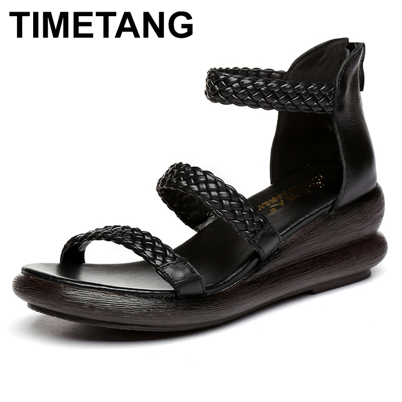 TIMETANG Women Sandals Summer Genuine Leather Gladiator Sandals Casual Women Shoes Fashion Wedges Shoe Handmade Sandals