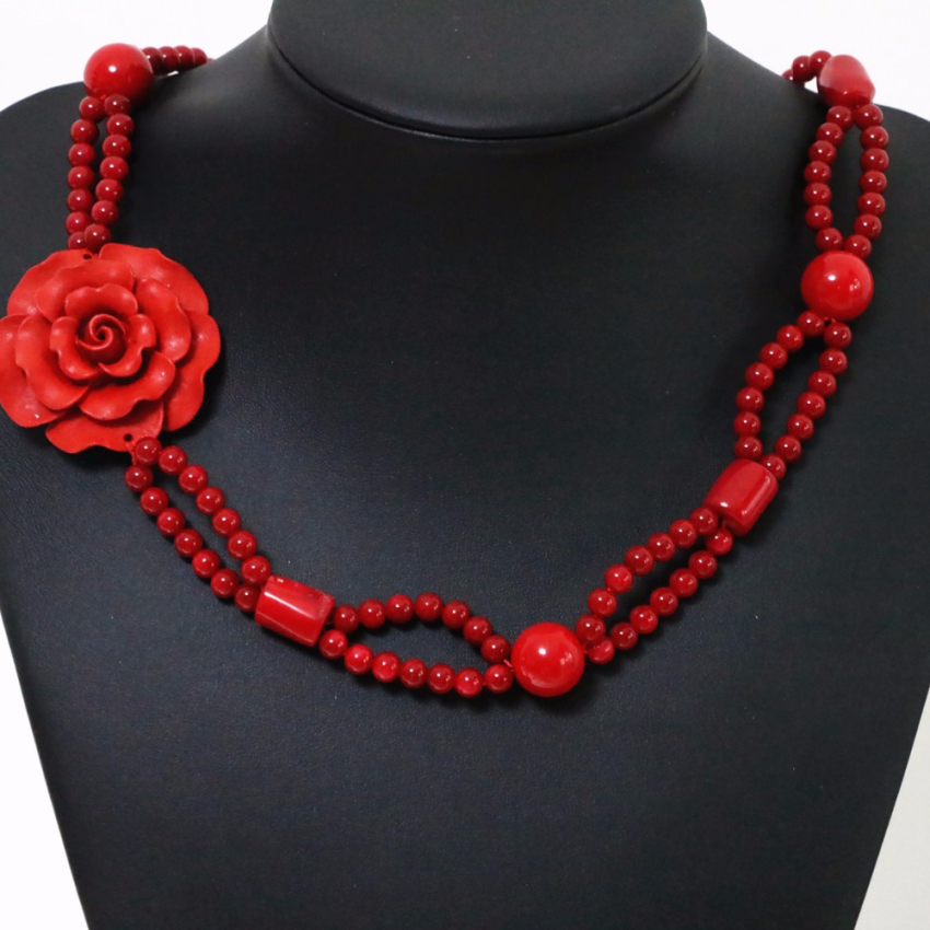 Free shipping necklace for women elegant red coral 6mm high grade cinnabar flower pendant party gift weddings jewelry B1907