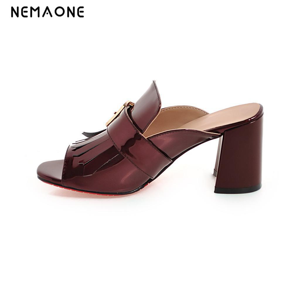 NEMAONE New fashion 2019 Summer Black red blue women Sandals Square Heel Slippers Casual Shoes Flip