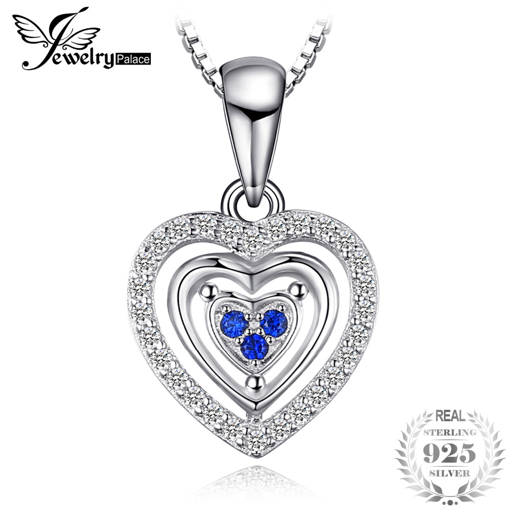 JewelryPalace Heart Love Round Created Sapphires Pendant